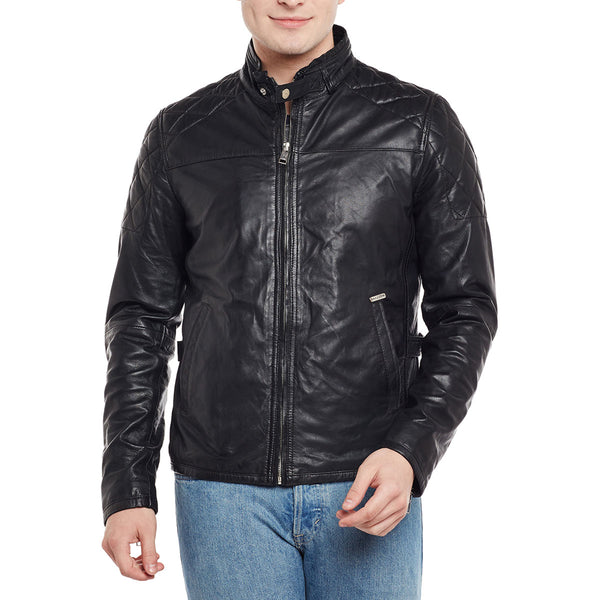 Bareskin Men'S Quilted Design Shoulders Black Leather Jacket