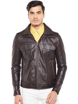Bareskin Brown Genuine Leather Double Collar Slim-Fit Jacket For Men