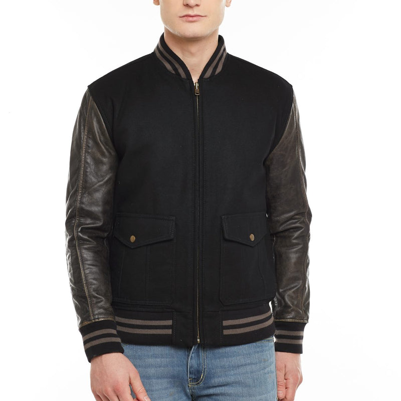 Bareskin Men'S Front Flap Pocket Black Woolen Rib Jacket