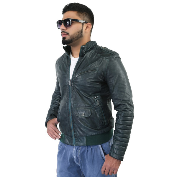 Bareskin Men'S Green Quilted Shoulder Design Leather Biker Jacket