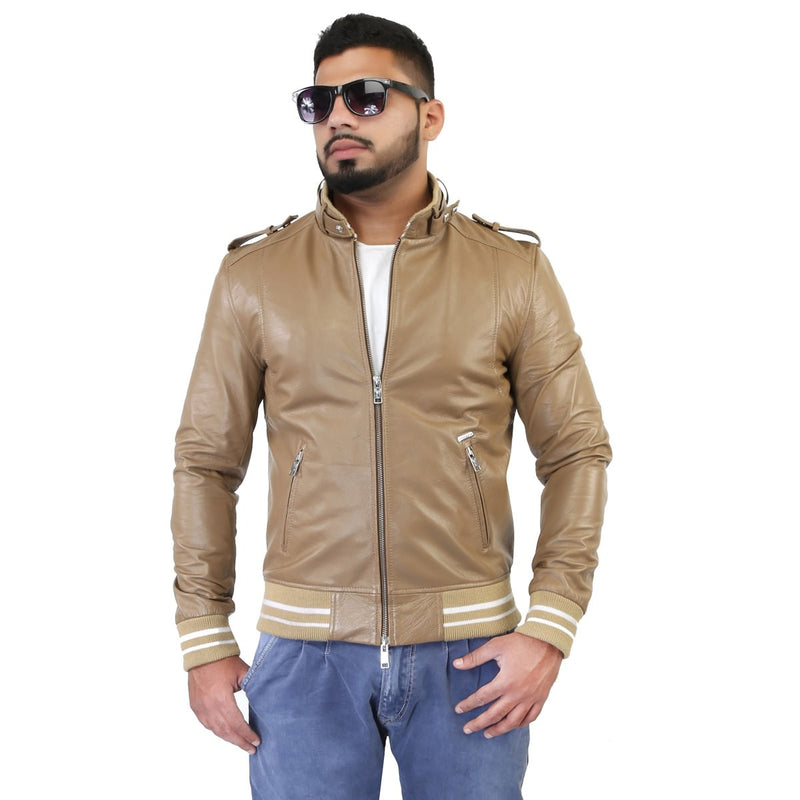 Bareskin Men's Beige Rib Style Band Collar Leather Jacket