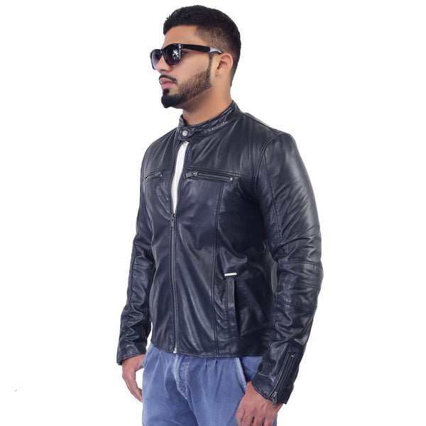 Bareskin Chest Zip Pockets Blue Leather Biker Jacket