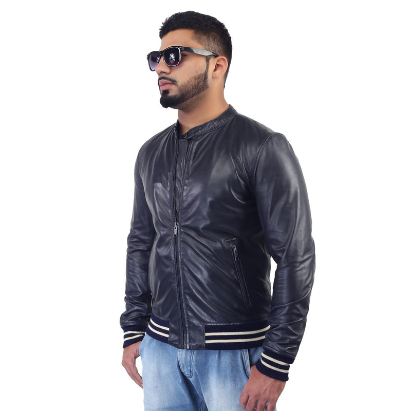 Bareskin Blue Racing Style Ribbed Men's Leather Jacket