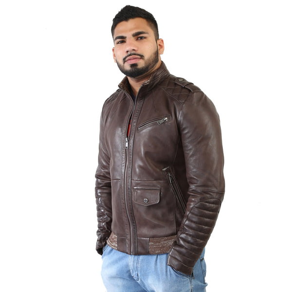 Bareskin Men's Dark Brown Quilted Stitched Racing Leather Jacket