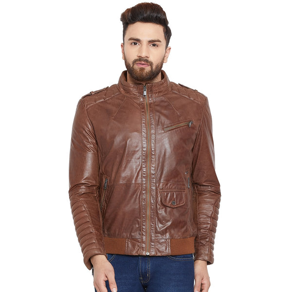 Bareskin Men's Brown Quilted Stitched Racing Leather Jacket