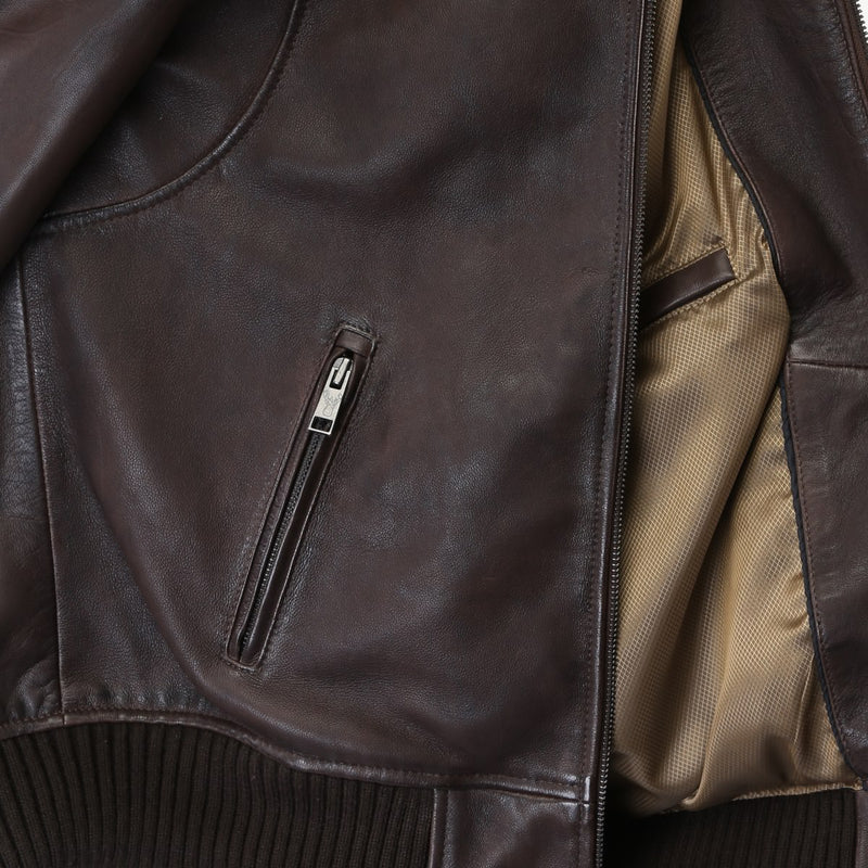 Coffee Brown Band-On-Rib Collar Bomber Men Leather Jacket By Bareskin