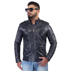 Bareskin Men's Navy Quilted Details Genuine Leather Biker Jacket