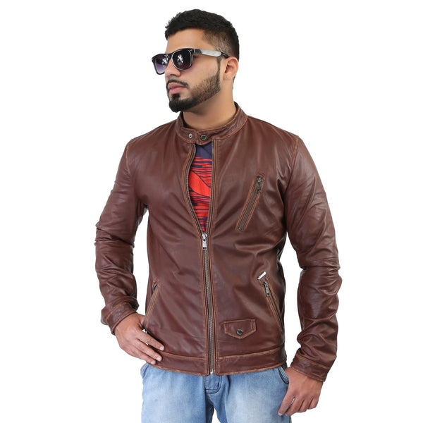 Bareskin Dark Brown Funk Style Leather Biker Jacket