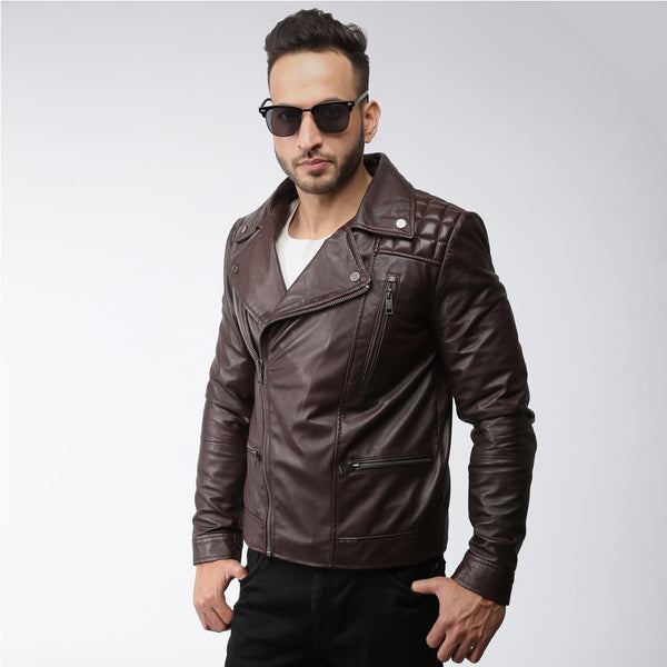 Wine Quilted Square Shoulder Men Leather Jacket By Bareskin
