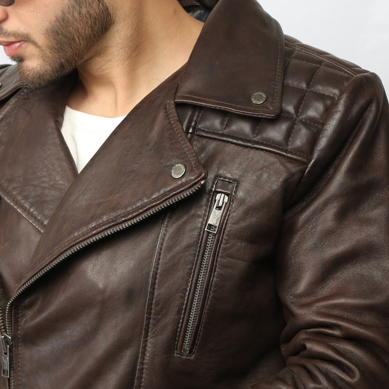 Brown Quilted Square Shoulder Men Leather Jacket By Bareskin