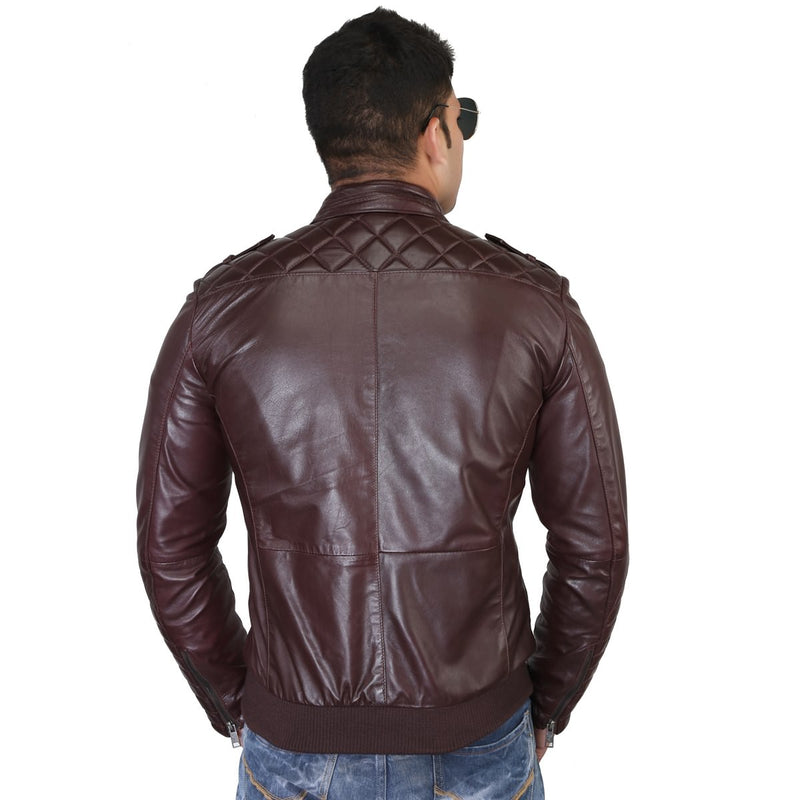 Bareskin Men's Red Color Genuine Leather Jacket