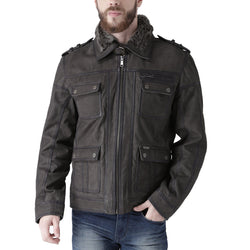 Bareskin Men Graphite Color Genuine Leather Bomber Jacket