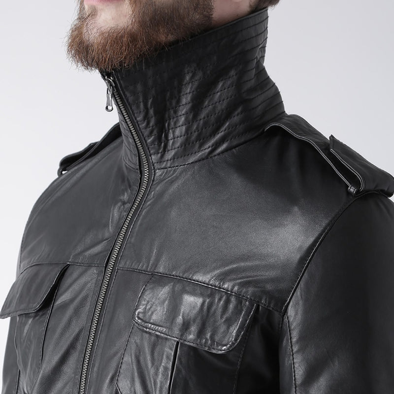 Bareskin Men Black Double Collar Design Leather Jacket