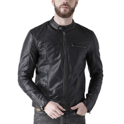 Bareskin Men's Black Leather Classic Silm Fit Chest Pocket Jacket