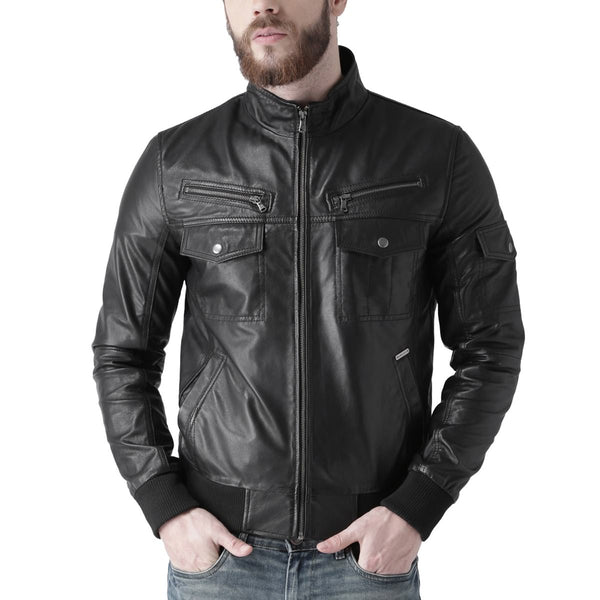 Bareskin Men's And Double Zip And Flap Pocket Black Leather Jacket