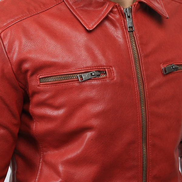 Red Spread Collar Men Classic Leather Jacket By Bareskin