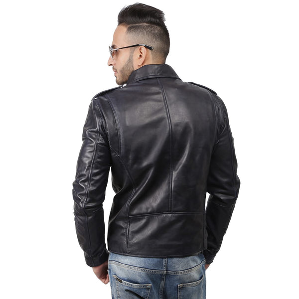 Navy Wrap Over Lapel Collar Men Leather Jacket By Bareskin