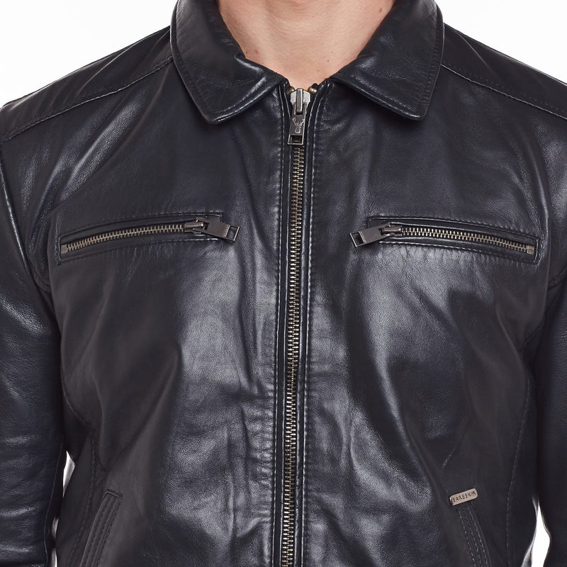 Blue Club Collar Men Leather Jacket By Bareskin