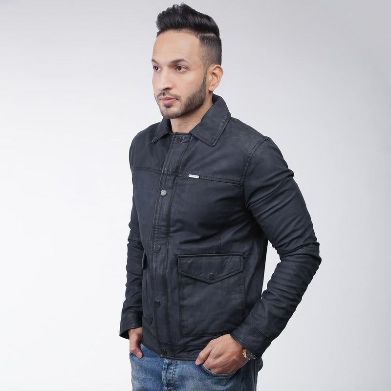 Blue Classic Spada Leather Men Jacket By Bareskin