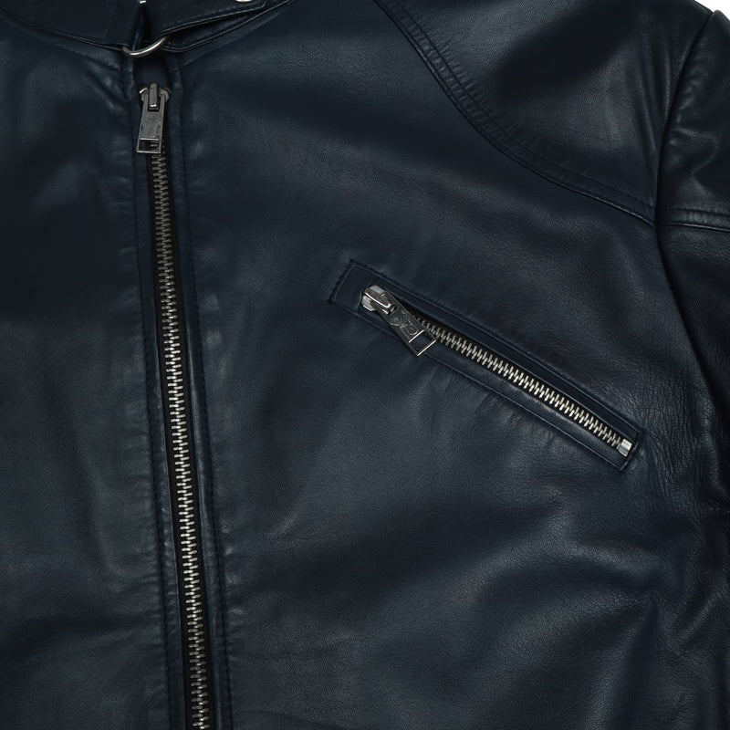 Bareskin Blue Men's Leather Jacket with Zip Pockets