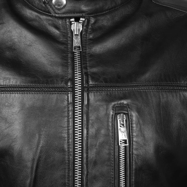 Bareskin Men's Bend Neck Black Solid Leather Jacket