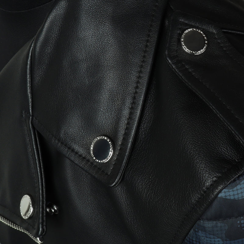 Men'S Genuine Leather Black Colour With Padded Sleeves Jacket By Bareskin