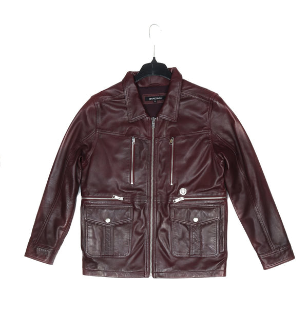 Bareskin Men's Wine Large Front Flap Pockets Leather Jacket