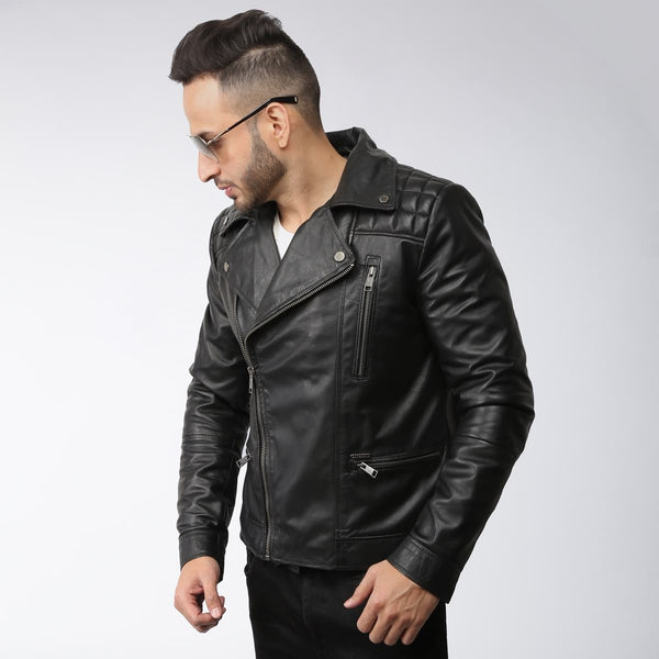 Black Boxed Padded Shoulder Biker Leather Jacket By Bareskin