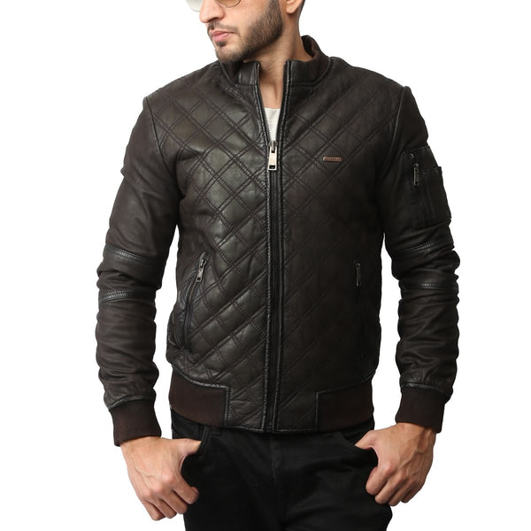 Brown Stitched Pattern Spada Bomber Leather Jacket By Bareskin