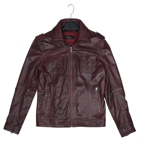 Wine Leather Double Collar Styled Jacket By Bareskin