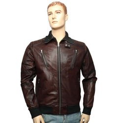 Brown Leather Contrasting Woven Collar Bomber Jacket By Bareskin