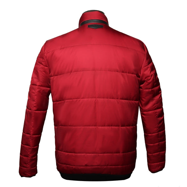 Multiple Front Pockets Red Puffer Jacket by Brune & Bareskin