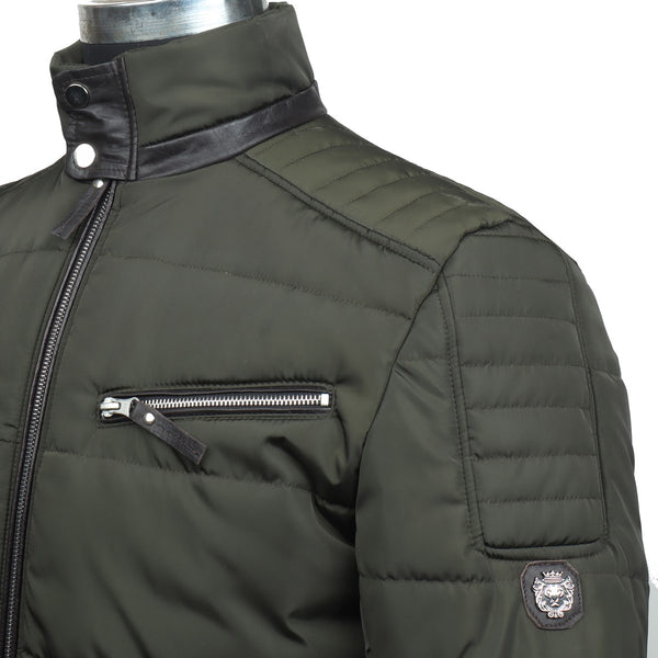 Multiple Front Pockets Green Puffer Jacket by Brune & Bareskin