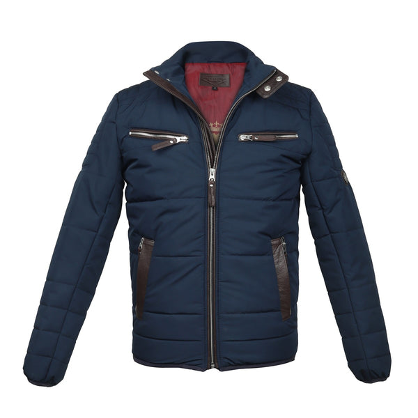 Multiple Front Pockets Blue Puffer Jacket by Brune & Bareskin