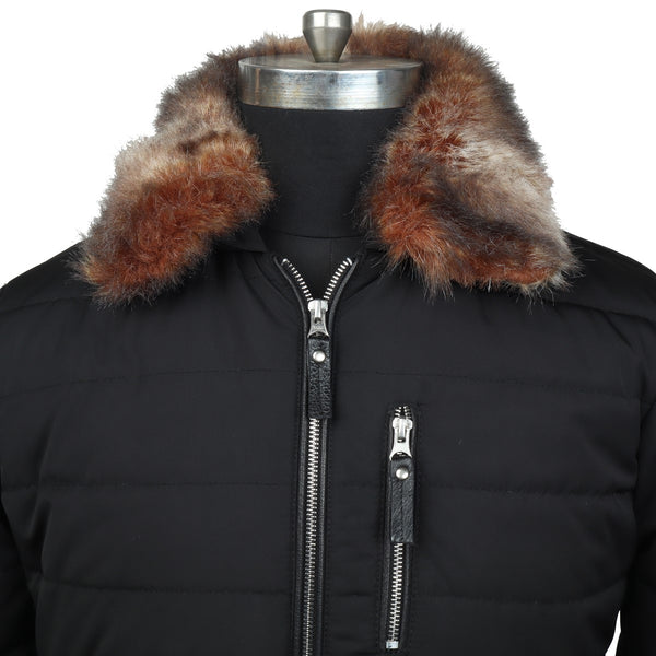 Removable Furr Collar Black Puffer Jacket by Brune & Bareskin
