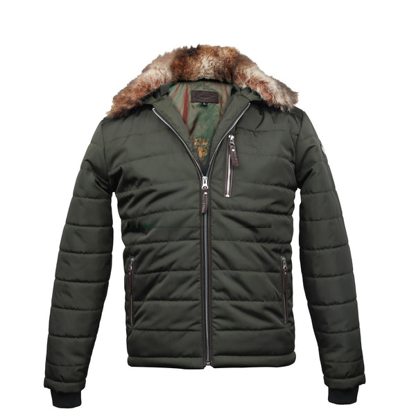 Removable Furr Collar Green Puffer Jacket by Brune & Bareskin