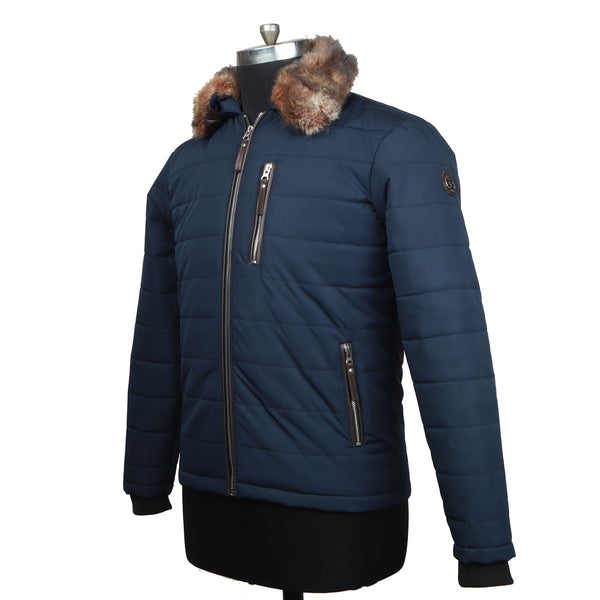 Removable Furr Collar Blue Puffer Jacket by Brune & Bareskin