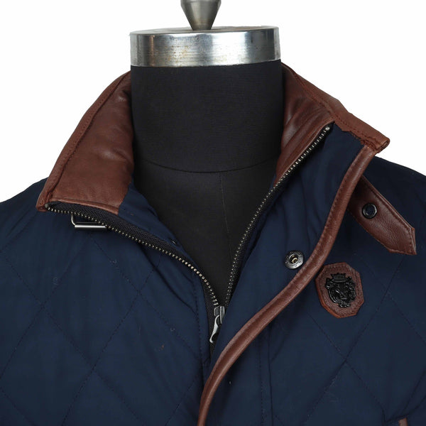 Contrasting Blue-Brown Puffer Coat Jacket by Brune & Bareskin
