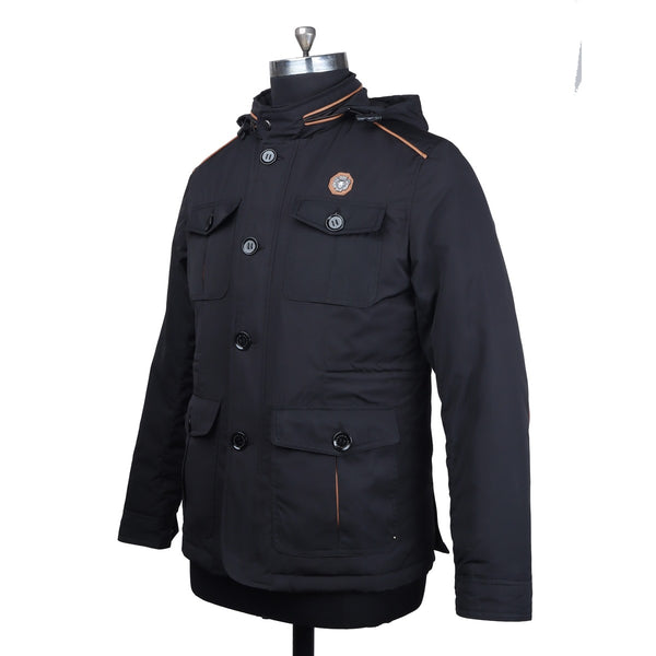 Concealed Zipper Hood Black Puffer Jacket by Brune & Bareskin