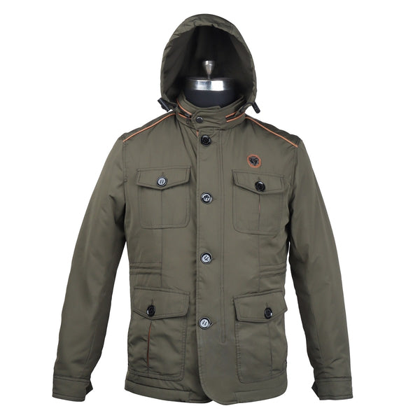 Concealed Zipper Hood Green Puffer Jacket by Brune & Bareskin
