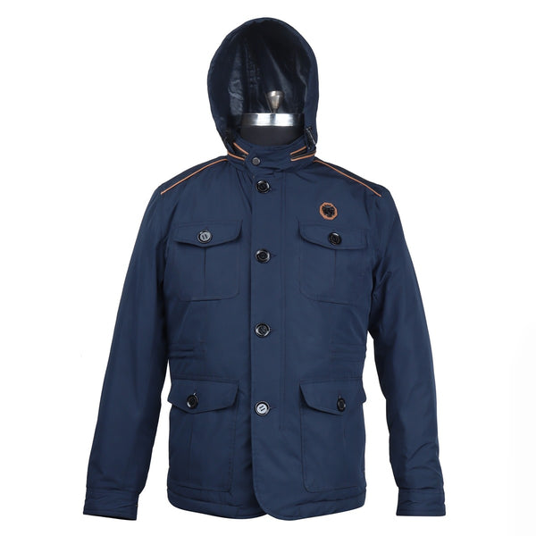 Concealed Zipper Hood Blue Puffer Jacket by Brune & Bareskin