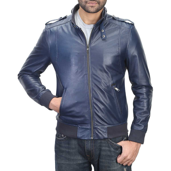 Bareskin Blue Colour Genuine Leather Bomber Jacket Jacket For Men