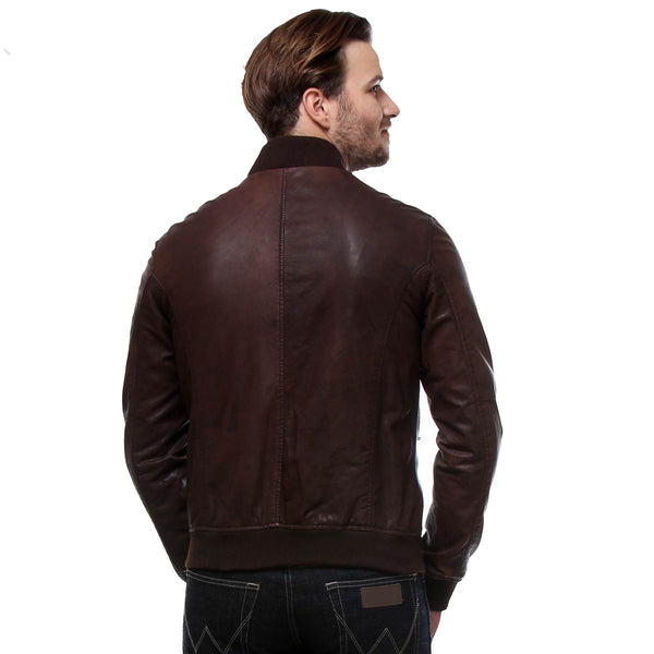 Bareskin Expresso Colour Genuine Leather Bomber Jacket For Men