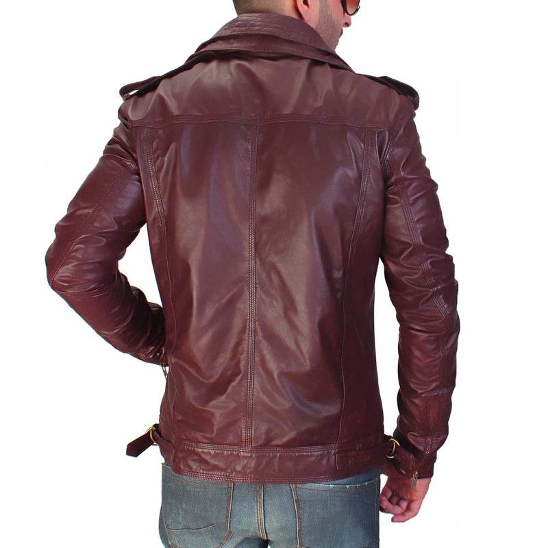 Red Leather Double Collar Styled Jacket By Bareskin
