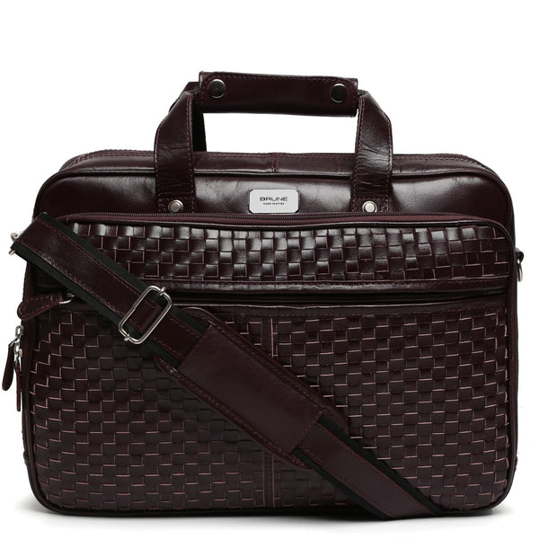 Brune Burgundy Leather Office Laptop Bag