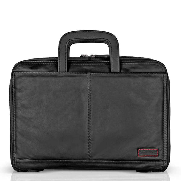 Trendy Black Leather Portfolio Bag by BRUNE