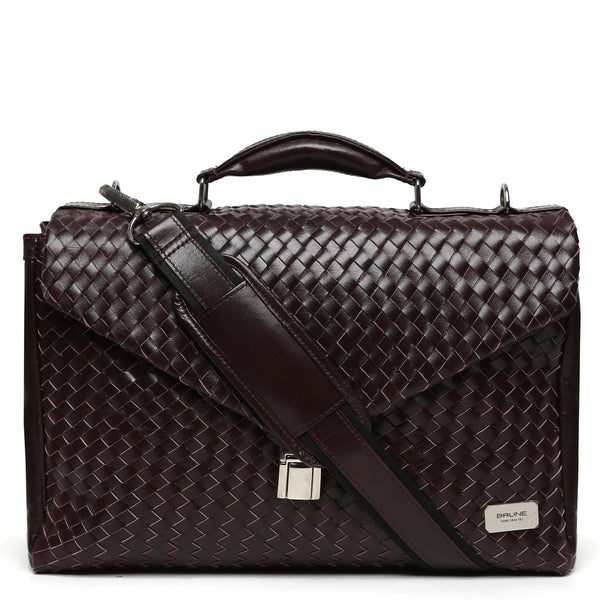 Basket Weave All Leather Mens Briefcase By Brune