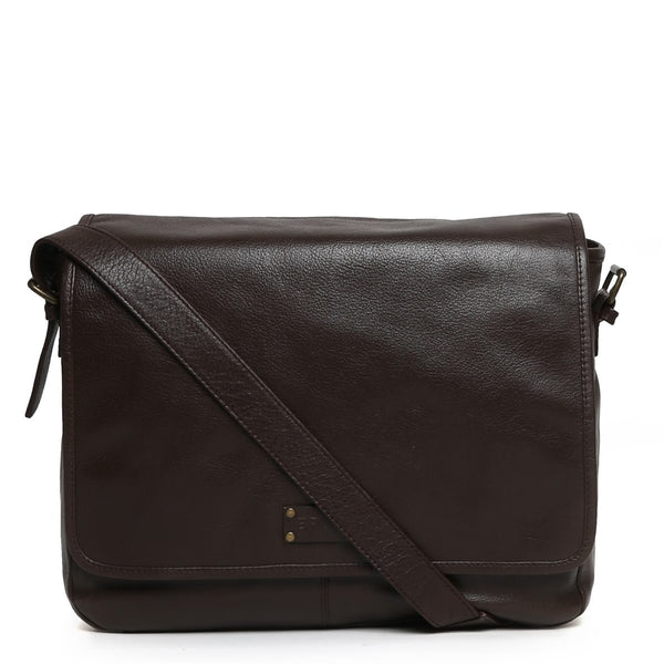 Brune Brown Leather Men'S Flapover Office Messenger Bag