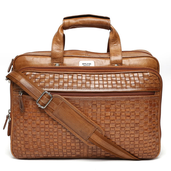 Brune Tan Basket Weave Leather Office Laptop Bag
