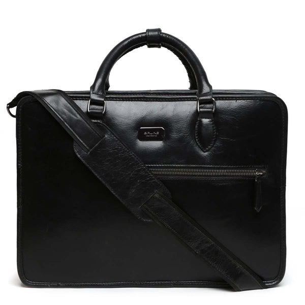 Black Tri-Compartment Office Briefcase By Brune